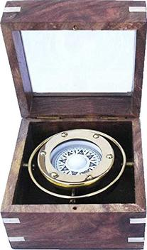 Gimbaled Brass Compass in Wood Box w/ Glass Top