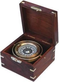 Brass Gimbaled Modern Nautical Sailboat Compass w/ Hardwood