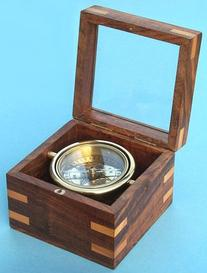 Small Gimbaled Boxed Brass Nautical Compass w/ Beveled Glass