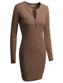 Doublju Fitted Ribbed Knit Zipper Front Mini Dress  COCOA