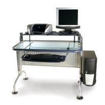 Studio RTA Glass Top Computer Desk in Black