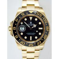 GMT Master II Yellow Gold Watch, Black Dial