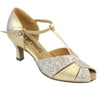 Go Go Dance Shoes Women's 4202, Gold Leather with Sparkle