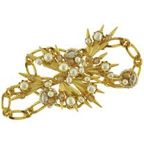 Miriam Haskell Gold Crystal Pearl Spike Brooch