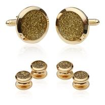 Cuff-Daddy Gold Diamond Dust Tuxedo Cufflinks and Studs