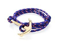 VIRGINSTONE Gold Plated Anchor Bracelets on Colorful Nylon