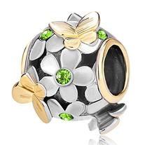 Pugster 22K Gold Plated Peridot Green Flower Golden