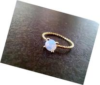 Gold Ring,Round Ring,Gold Genuine Moonstone Ring, Rainbow