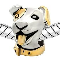 Pugster 22k Gold Silver Cute Puppy Dog Head Animal Bead Fits
