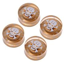 4pcs Gold Speed Control Knobs with White Skull Logo for