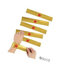 Gold Superhero Slap Bracelets - 12 pcs