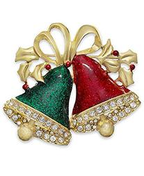 Charter Club Gold-Tone Crystal Red and Green Bell Pin