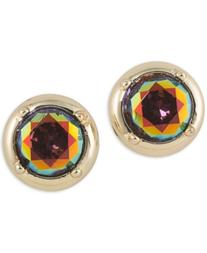 T Tahari Gold-Tone Emerald Stone Stud Earrings