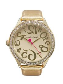 Womens Gold Tone Watch Leather Strap Rhinestone Accented