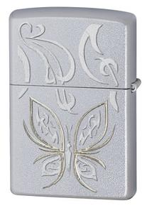 Zippo Butterfly Design Satin Chrome Pocket Lighter