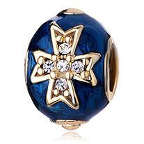 Pugster 22k Golden Sapphire Blue Drip Gum Celtic Cross Clear