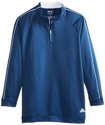 adidas Golf Boy's 3-Stripes Piped 1/4 Zip Jacket, Black/