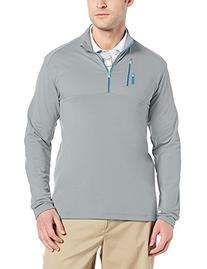 adidas Golf Men's Mixed Media 1/4 Zip Shirt, Clear Onix/