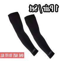 1 Pair of Golf Sun Sleeves Arm Compression Cooling Sleeves UV Protective, Black