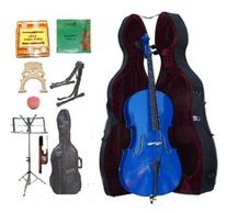 GRACE 4/4 Size BLUE Cello with Hard Case + Soft Carrying Bag