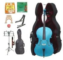 GRACE 1/2 Size BLUE Cello with Hard Case + Soft Carrying Bag