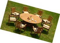 """9 Pc Grade-A Teak Wood Dining Set -72"""" Round Table And 8"""