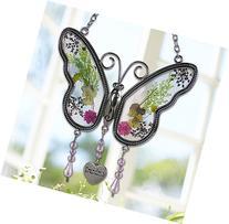 Grandma Butterfly Suncatcher with Pressed Flower Wings