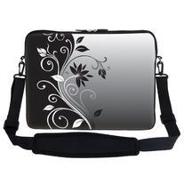 17 inch Gray Black Swirl Design Laptop Sleeve Bag Carrying