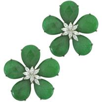 Siman Tu Green Aventurine CZ Flower Earrings