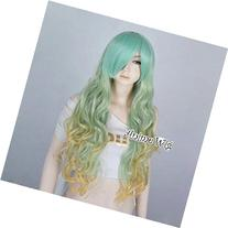 29 Inches Green Mixed Yellow Lolita 75cm Long Curly Girls