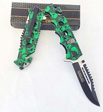 Green Skull Zombie Slayer GRIP HANDLE ASSISTED OPENING