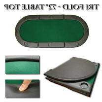 """Green 72"""" Tri-fold Poker Chip Table Top with Cup Holders"""