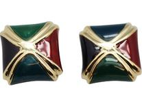 Green, Purple, Blue and Red Gold Square Clip On Earrings