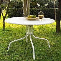 "Crosley Griffith 40"" Metal Dining Table in White"