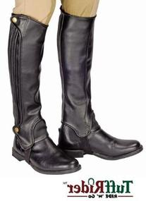 TuffRider Grippy Grain Half Chaps Large Black