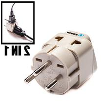 OREI Grounded Universal 2 in 1 Plug Adapter Type H for