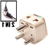 OREI Grounded Universal 2 in 1 Plug Adapter Type D for India