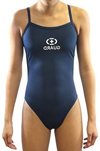 Adoretex Lifeguard Thin Strap Open Back Swimsuits  - Navy -