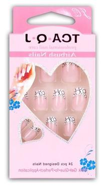 GURAIO 24pcs Set Acrylic False Nail Tips French Full Nails