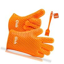 On'h Heat Resistant Oven Mitts 1 Pair Silicone Cooking