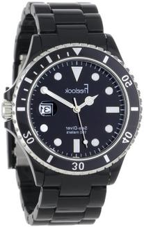 Freelook Men's HA1437B-1 Sea Diver Black and Silver Accent