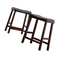 """Hahn 24"""" Counter Height Saddle Stools - Set of 2, Cherry"""