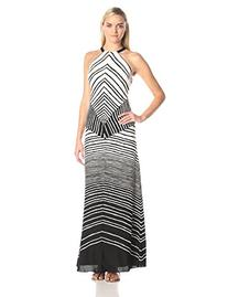 HALSTON HERITAGE Women's Halter Neck Stripe Print Maxi Dress