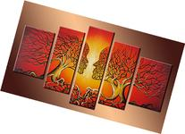 Ode-Rin 100% Hand Painted Wood Framed Wall Art 5 Panels