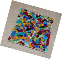 Handmade Original Small Fused Glass Plate with Translucent