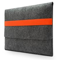 Lavievert Handmade Gray Felt Case Bag Sleeve with Orange