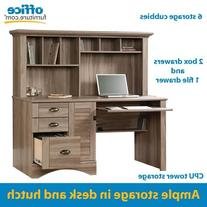 Sauder 415109 Salt Oak Finish Harbor View Computer Desk with
