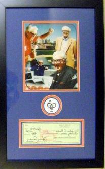 Harry Caray autographed framed check masterpiece with patch
