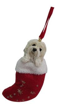 "Havanese Christmas Stocking Ornament with ""Santa's Little"