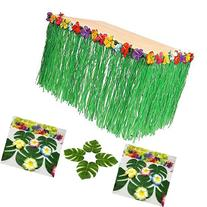 Adorox Hawaiian Luau Hibiscus Green Table Skirt 9ft Party